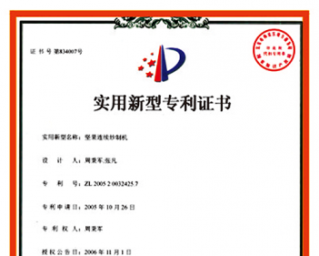 Patent of nut continuous frying machine